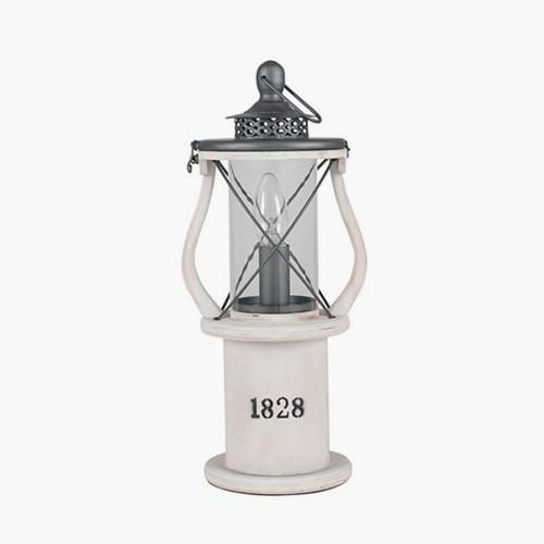 White Wood Lantern Table Lamp
