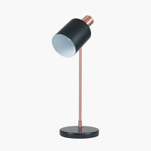 Black and Antique Copper Metal Task Table Lamp