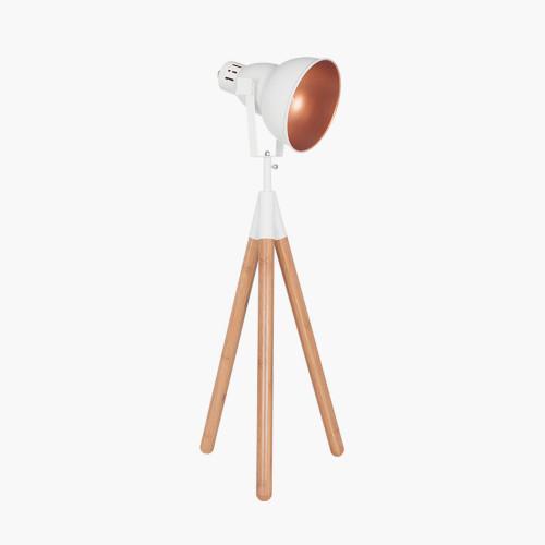 White Metal & Natural Wood Tripod Table Film Light
