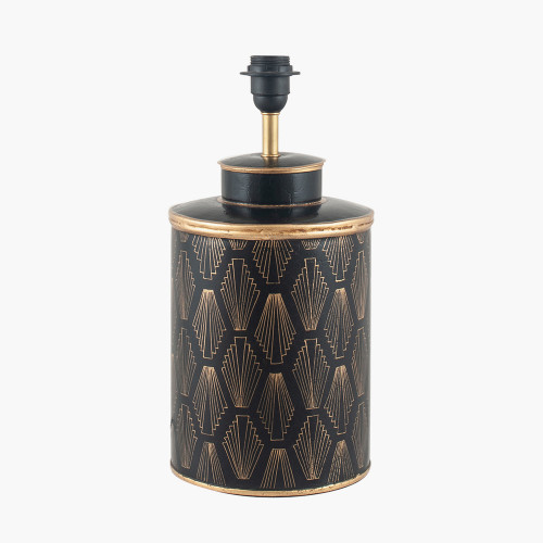 Black Art Deco Hand Painted Table Lamp