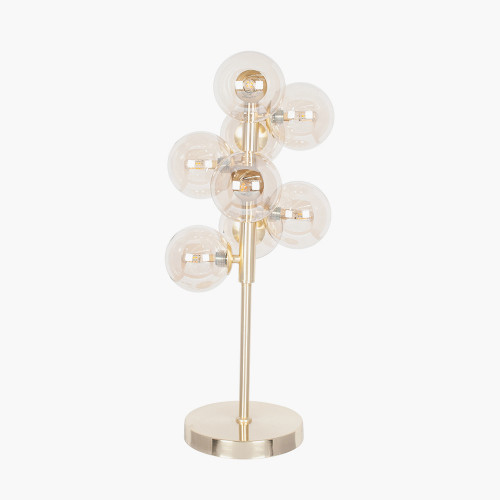 Lustre Glass Orb and Gold Metal Table Lamp