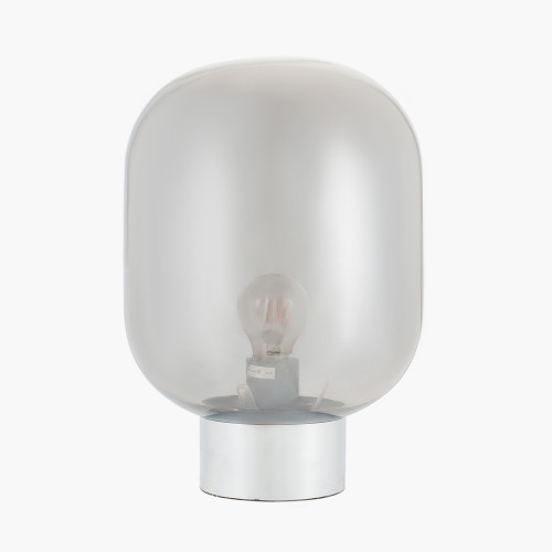 Smoke Glass Ball and Chrome Table Lamp