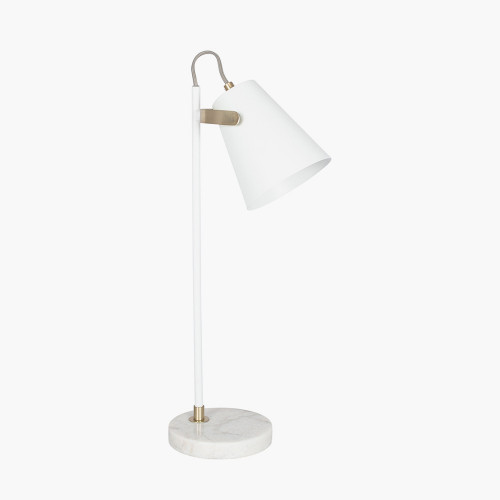 White and Brushed Brass Task Table Lamp
