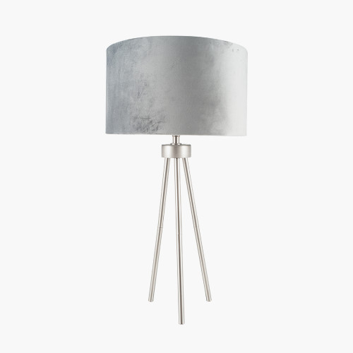 Brushed Silver Metal Tripod Table Lamp