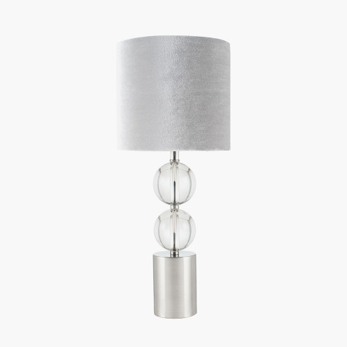 Brushed Silver and Clear Glass Table Lamp