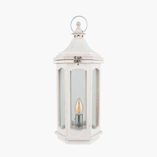 White Wash Wood Lantern Table Lamp