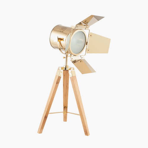 Gold and Natural Tripod Table Lamp