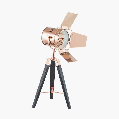 Copper and Black Tripod Table Lamp