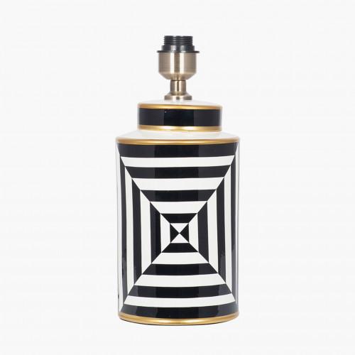 Black and White Optic Stripe Ceramic Table Lamp