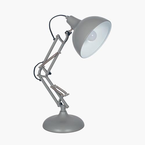 Grey Metal Angled Task Table Lamp
