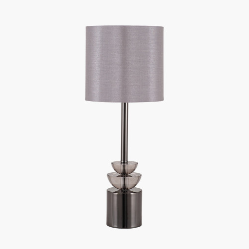 Smoke Glass and Pewter Small Table Lamp