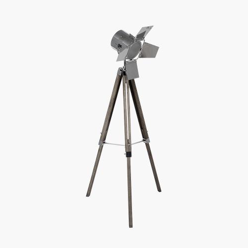 Grey Wood and Silver Metal Film Tripod Floor Lamp