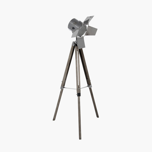 Grey Wood and Silver Metal Film Tripod Floor Lamp