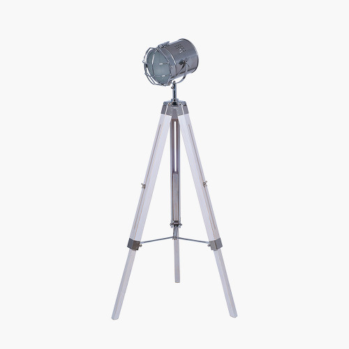 White Wash and Silver Metal Tripod Floor Lamp