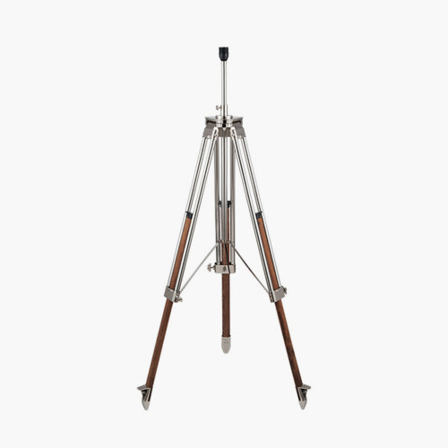 Nickel and Wood Tripod Floor Lamp