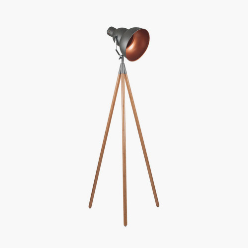 Grey Metal & Natural Wood Tripod Floor Film Light