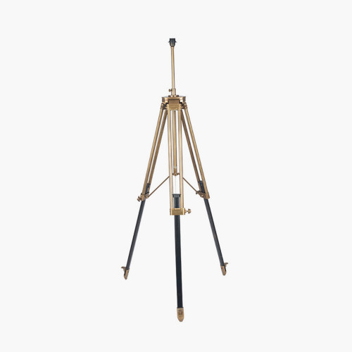 Antique Brass Metal & Dark Wood Tripod Floor Lamp