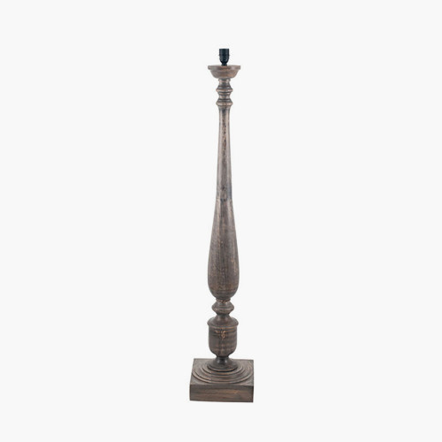 Grey Wash Turned Mango Wood Floor Lamp