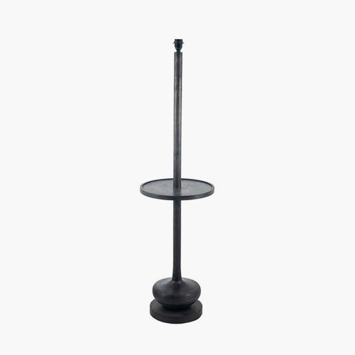 Dark Wash Wood Floor Lamp with Table