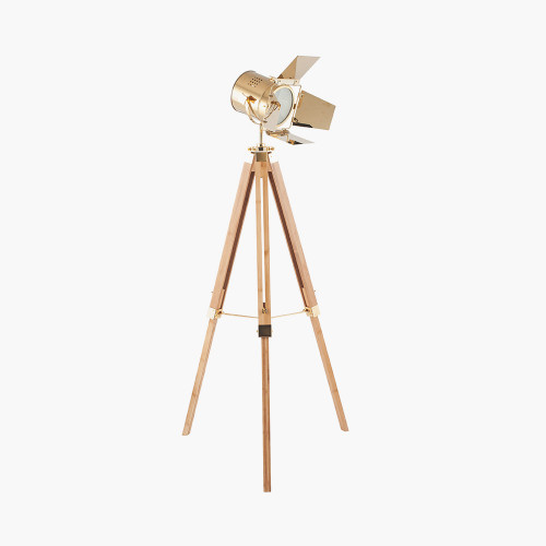 Gold and Natural Tripod Floor Lamp