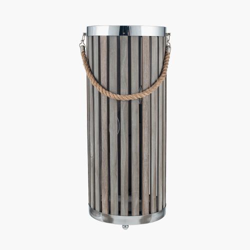 Grey Wash Wood Large Lantern Floor Lamp