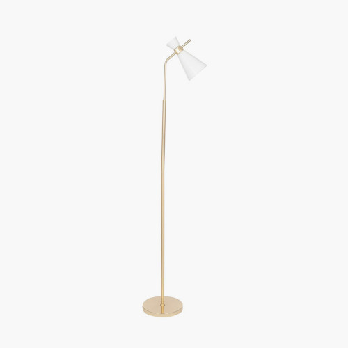 White Glass and Gold Metal Waisted Floor Lamp