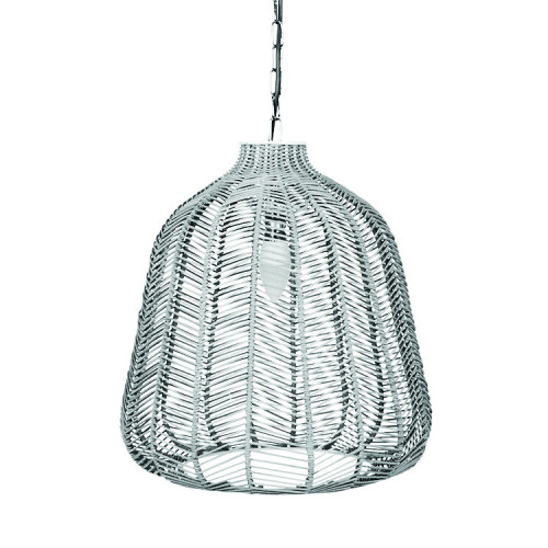 Grey Wash Rattan Chevron Pendant