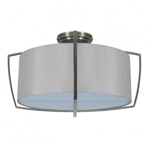 Silver Metal Frame and Grey Shade Flush Pendant