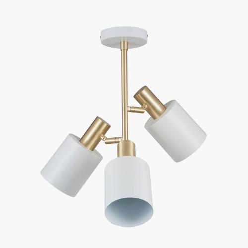 White & Brass 3 Light Electrified Pendant