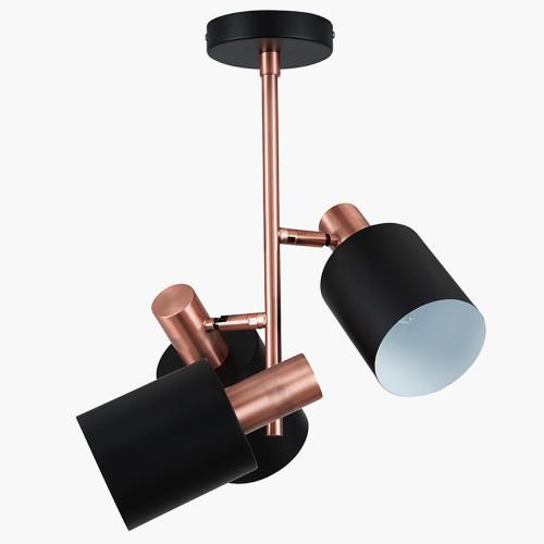 Black & Antique Copper 3 Light Electrified Pendant