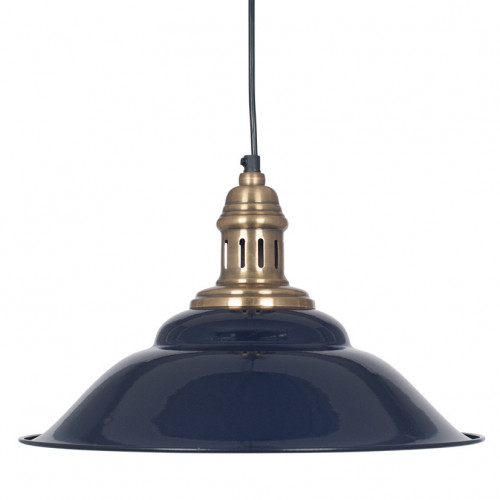 Navy & Antique Brass Metal Cafe Pendant