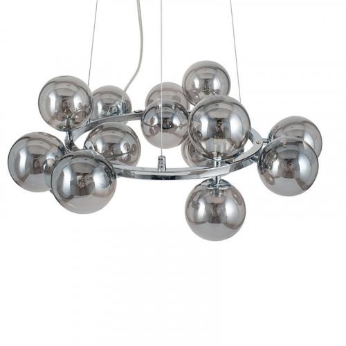 Smoke Glass Ball and Chrome Metal Pendant