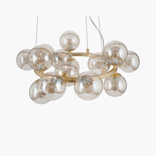 Lustre Glass Ball and Gold Metal Pendant