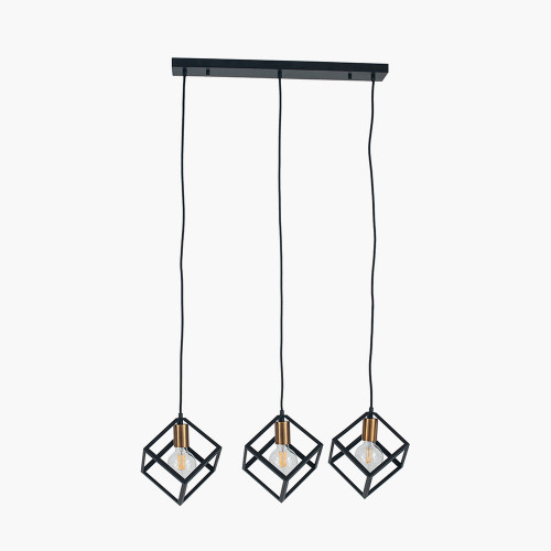 Matt Black Metal Three Cube Pendant