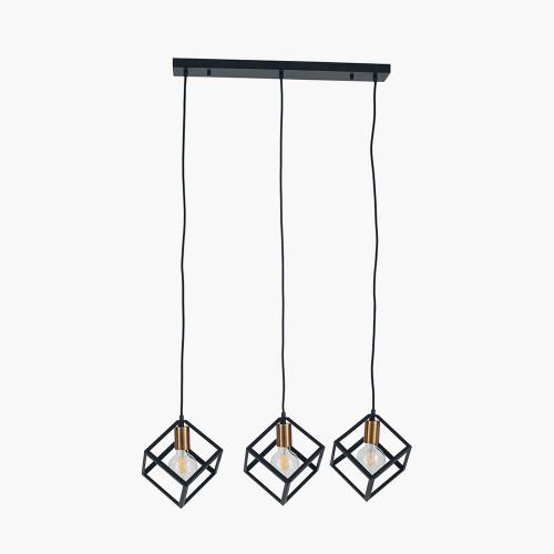 Matt Black Metal Three Cube Pendant