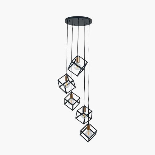 Matt Black Metal Five Cube Pendant