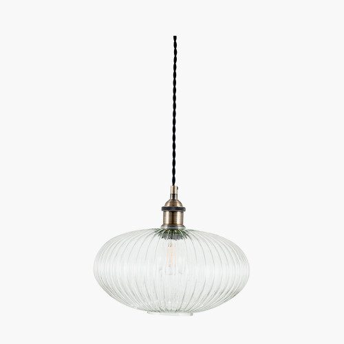Clear Ribbed Glass Oval Pendant