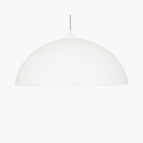 Matt Cream and Silver Leaf Dome Pendant