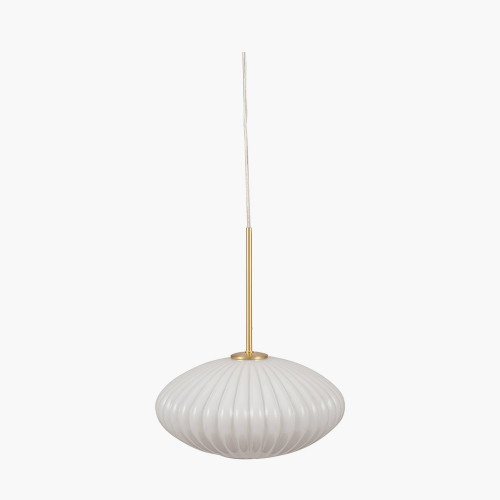 White Glass and Gold Metal Ribbed Oval Pendant