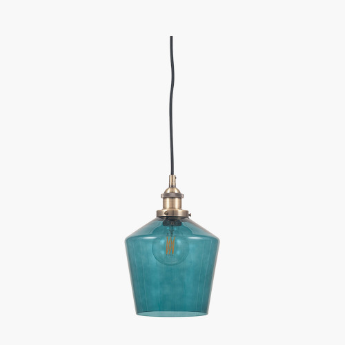 Teal Glass and Antique Brass Metal Pendant