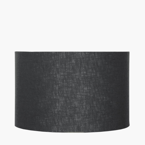 25cm Black Self Lined Linen Drum Shade