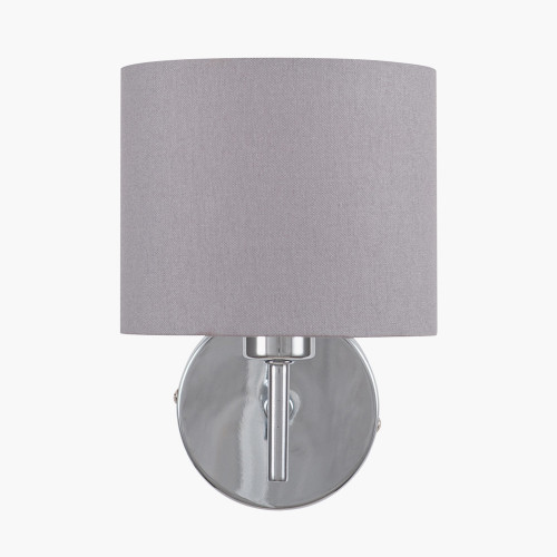 Silver Metal Straight Arm Wall Light