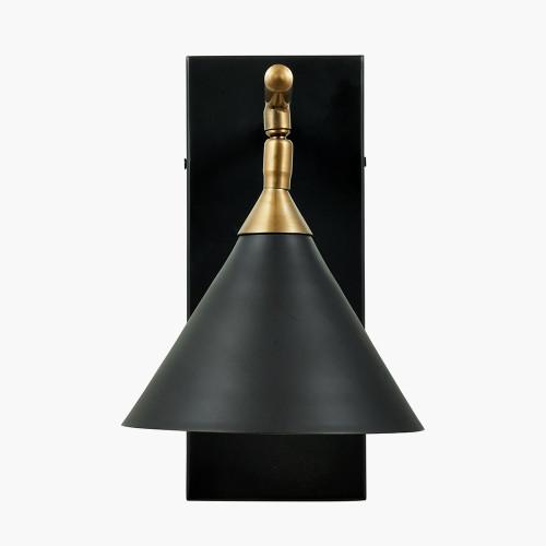 Zeta Matt Black and Antique Brass Wall Lamp