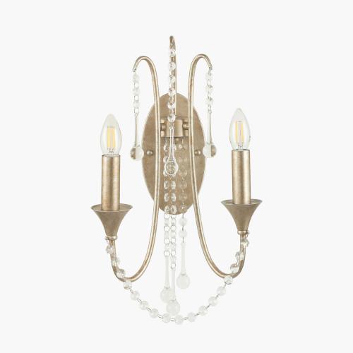 Belle Antique Silver Leaf Metal & Beaded 2 Light Wall Light