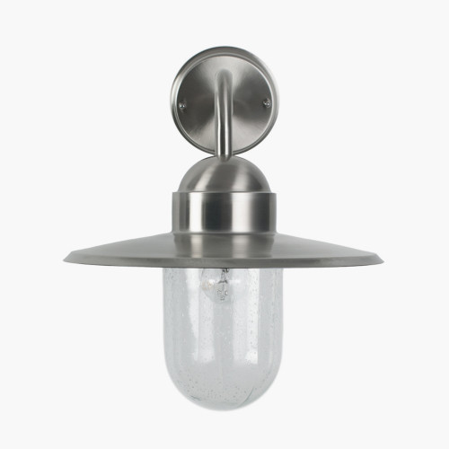 Brushed Steel Metal and Glass Fisherman Wall Light