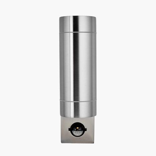 Brushed Steel Metal Dual PIR Wall Light