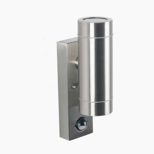 Brushed Steel Metal Dual PIR Wall Light