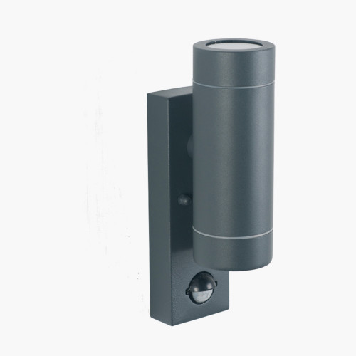 Dark Grey Metal Dual PIR Wall Light