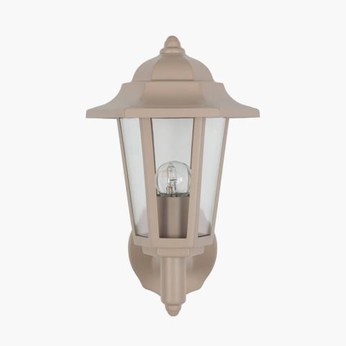 Taupe Metal Hex Lantern Wall Light