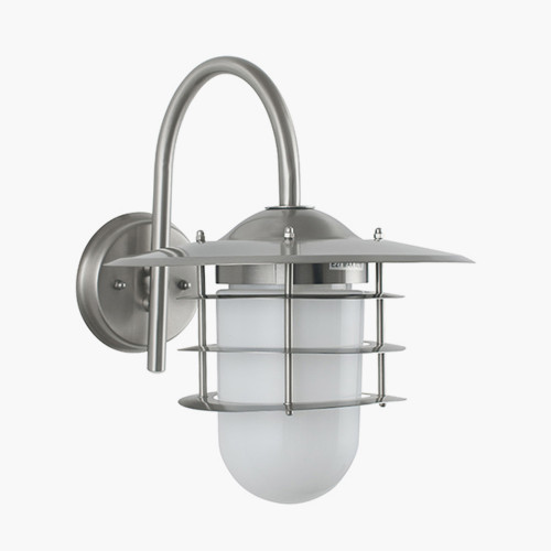 Brushed Steel Metal and Opaque Glass Wall Light